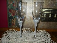 RARE Set 2 GORHAM CRYSTAL Champagne Flutes NEWPORT FROSTED SCALLOP SHELL STEM