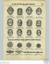 1928 PAPER AD Cornelian Cameo Cameos 12 Images Bohemian Garnet Brooch Brooches
