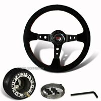 350mm Black Suede Leather Deep Dish Style Steering Wheel + Hub For Mazda
