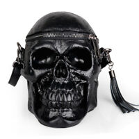 Men Women Personalized Handbag Skull Head Shoulder Bag Cross-body Bag Black