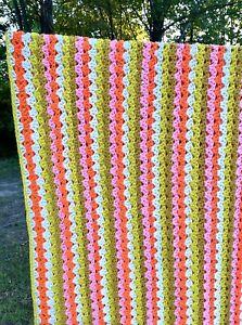 Vintage Afghan Blanket Handmade Fantastic Colors Pink Orange Gold Stripes Large