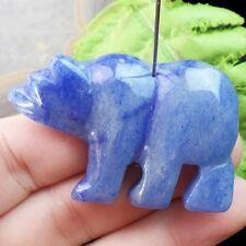 Y0013224 Beautiful Blue Agate Carved Polar Bear Pendant Bead