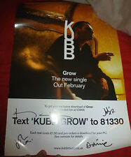 KUBB FULLY SIGNED SIZE GROW POSTER MUSIC AUTOGRAPH INDIE ROCK 100% GENUINE