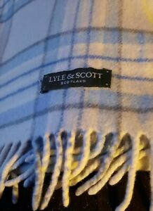 Vintage Lyle & Scott Blue Check/ Plaid Wool Scarf. 10 X 52 In. Made In Scotland