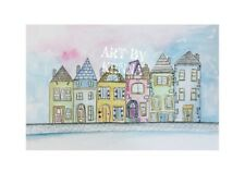 Houses On The Street  Original Watercolour By Kenna Matthews