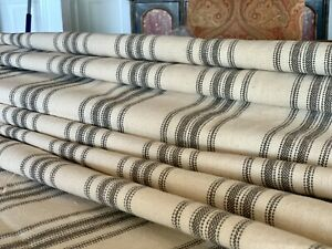 Grain Sack Fabric, Black and Beige Ticking Fabric, Feed Sack, Grainsack Fabric