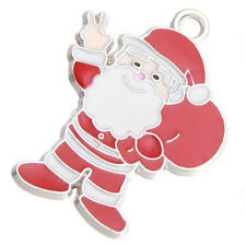 50Pcs Wholesale Christmas Gift Red White Enamel Charms Santa Claus Alloy Pendant