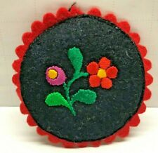 Vtg Hungarian Folk Art Kalocsa Silk Embroidery Pin Cushion Felt Matyo Ornament