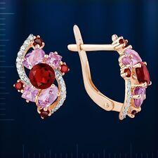 Russische Rose Gold 585 Ohrringe mit  Granate, Amethyst und CZ. Neu  Glänzend.