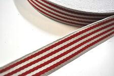 WEBBING BAG STRAP STRIPES RED 1 Meter Band 40MM BAGS COTTON BELT
