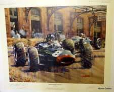 Juan Ferrigno signed limited edition print Double Victory at Monaco Graham Hill