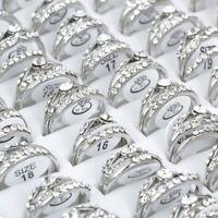 10st Großhandel Mischlose Damen Kristall Edelstahl Feinen Silber Ringe Schmuck