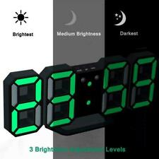 Modern Digital 3D White LED Wall Clock Alarm Clock Display Hour USB Snooze Z0K9