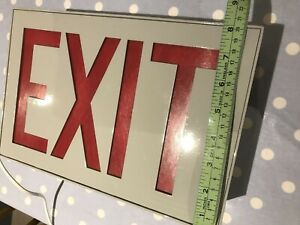 Vintage Illuminated American Exit Sign 1950s Light,  Metal Casing 12 ins x 8 ins