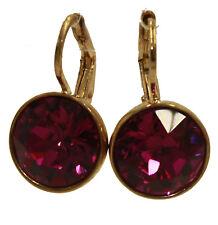 Swarovski Elements Pink Fuschia Bella Earrings Gold Plated Dangle Earrings