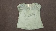 River Island green patterned short elastic cap sleeve back buttoned top Size 14