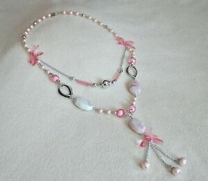 Modeschmuck Kette  Longkette  Halskette  2-fach  rosa silberfarben  neu #9063