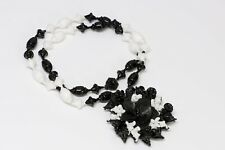 Miriam Haskell 1950's Black White Glass Beads Flower Leaf Pendant Necklace