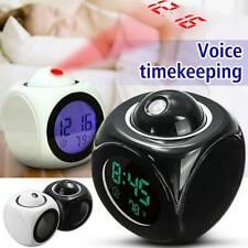 Voice LCD Digital LED Alarm Clock Projector Talking Time Temperature Night Light