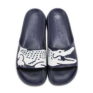 Mens Lacoste Slides Sandals Lacoste Croco Navy Blue Slides  NEW
