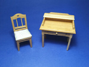 Miniature Dollhouse Desk And Chair Made From Oak Wood 1:12 Scale New
