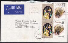 1974 25c Anteater Pair Australia 60c Rate Air Mail Postal Cover to Uk Gb