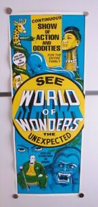 WARD HALL WORLD OF WONDERS CARNIVAL SIDESHOW POSTER VINTAGE FREAKS MUSEUM SHOW