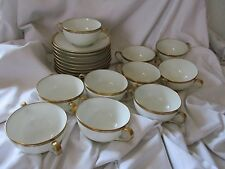 Theodore Haviland Limoges France 10 cream soup cup saucer lot gold rim black