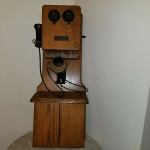 Chicago Telephone Supply Co. Antique Wood Double Box Wall Phone