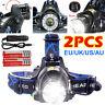 2PCS 90000LM T6 LED Rechargeable Head Torch Light Headlamp Flashlight Waterproof