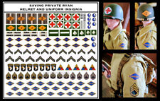 "1/6 Saving Private Ryan Uniform and Helmet WWII Decals for DID, Dragon 12"" Scale"