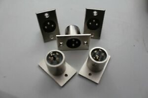 MALE XLR PANEL MOUNT SOCKET, PACK OF 5, BRAND NEW, SEE LISTING