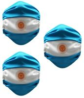 Argentina Face Mask Washable Reusable Adult Unisex 3 Pack Made in USA