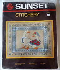 "New Sunset Stitchery Crewel Needlepoint ""What's Good for the Goose..."" 14""x18"""