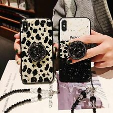 For iPhone 11 Pro Max XS 7 8+ Bling Diamond Love leopard Stand Strap phone Case