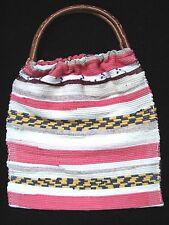 Carpet Bag Woven Tote Weekender Craft Knitting Beach Bag Wooden Handle