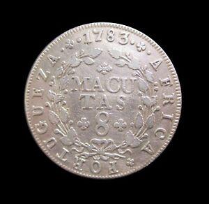 PORTUGUESE ANGOLA 8 MACUTAS 1783 SILVER RULER PEDRO III KM 23 #7733#