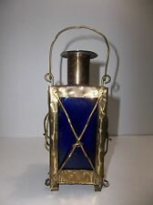 Swedish COBALT Blue Glass And BRASS Ships Lantern DECANTER HANDARBETE