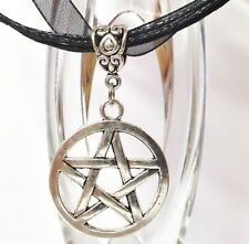PENTAGRAM_Pendant on Black Ribbon Necklace_Pentacle Wiccan Pagan Silver_363N