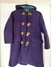 GIRLS MINI BODEN PURPLE WOOL DUFFLE WINTER COAT WITH BLUE LINING AGE 9-10 YEARS