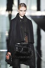 ROBERTO CAVALLI Black Wool Drape Front Coat 44 8