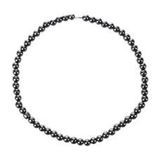 Women Men Dark Grey Round Hematite Beads Magnetic NeckLace G3G6 W2F2 U0S1