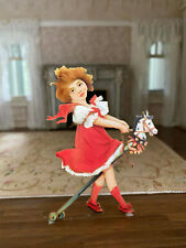Vintage Miniature Dollhouse Little Girl Playing Ride On Stick Horse Dummy Boards
