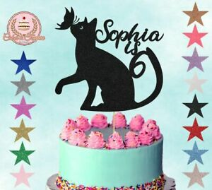 Black Cat with Butterfly Glitter Cake Topper Cake Decoration Any Name Any Age