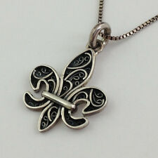 Authentic Lori Bonn Bons 925 Silver Fleur De Lys Token W/ Chain  Pendant New