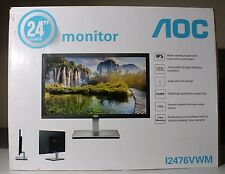 "AOC HDMI VGA Ultra-Slim LED IPS LCD 24"" Monitor 1080p Widescreen I2476VWM"
