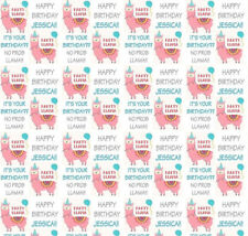 Personalised Gift Wrap LLAMA party Alpaca Birthday with own name