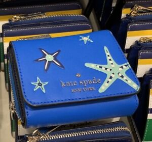 Kate Spade Small Leather Trifold Wallet Shore Thing Starfish Blue Novelty NWT