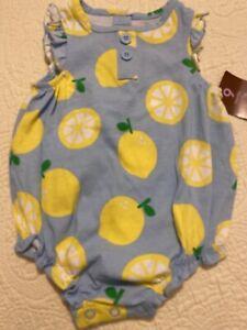Super Cute Carters Baby Girl Romper Sunsuit 9M Blue With Lemon