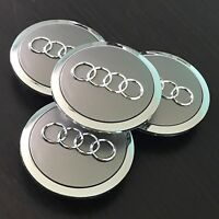 4x PC Grey Chrome Wheel Rim Center Replacement Hub Caps for Audi 69MM 4B0601170A